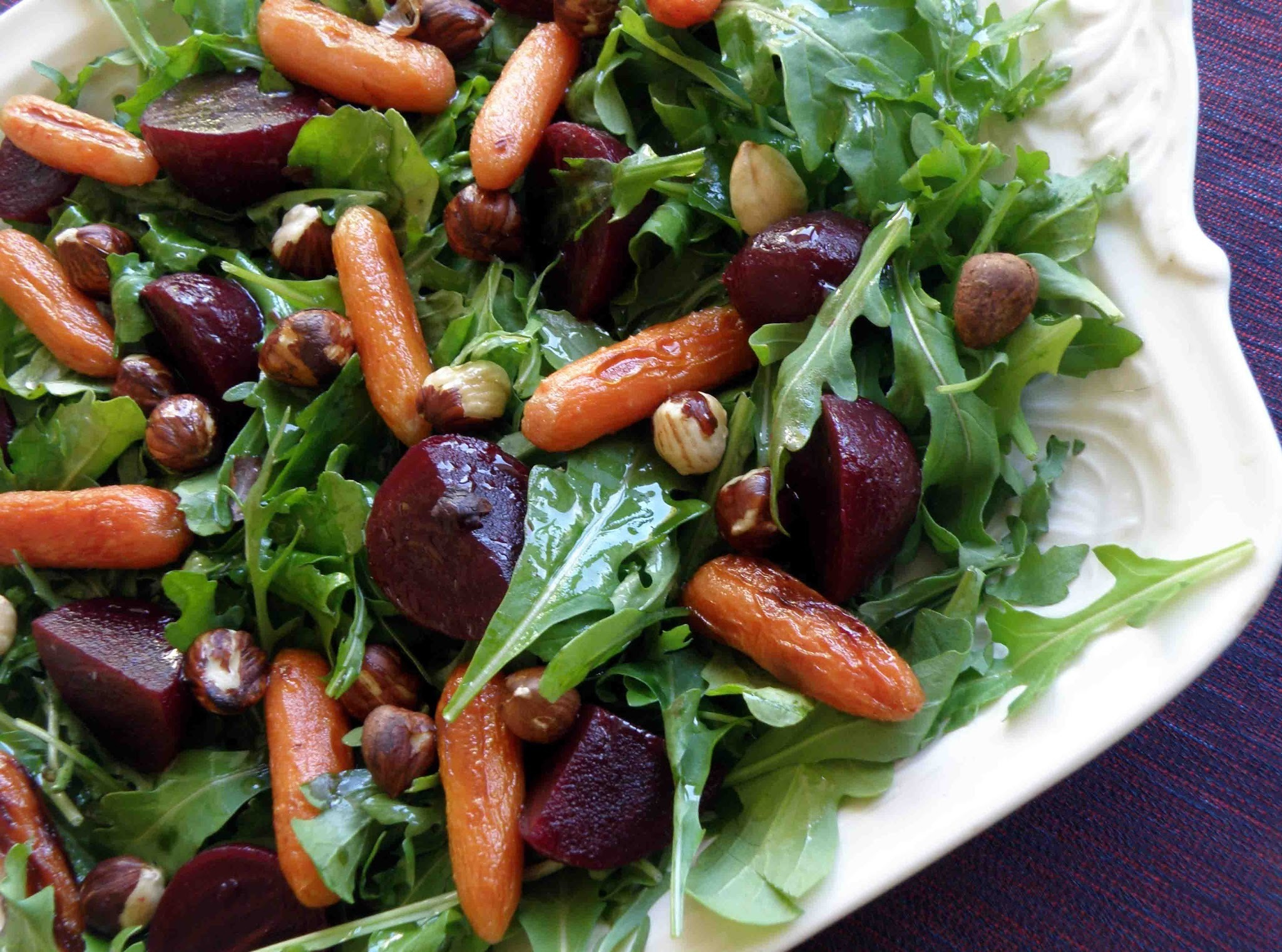 Roasted Beetroot, Baby Carrots and Hazelnut Salad