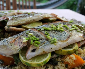 BBQ Rainbow Trout with Quinoa and Roast Pumpkin Salad