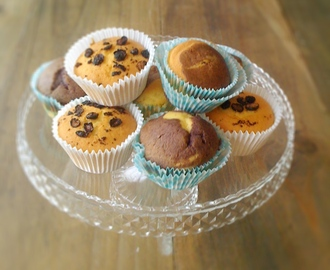 Cupcakes with dried blueberry slices and blackcurrant powder
