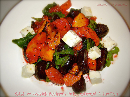 Salad of Roasted Beetroot, Pink Grapefruit & Pumpkin