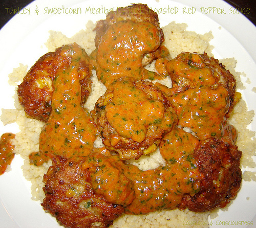 Turkey & Sweetcorn Meatballs with Roasted Red Pepper Sauce