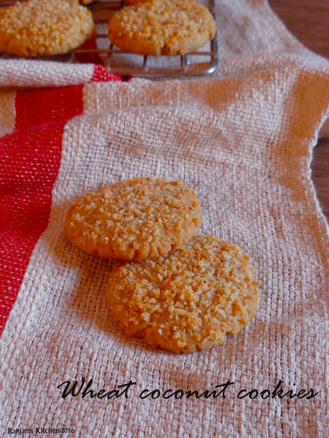 Wheat coconut cookies | Eggless Coconut cookies