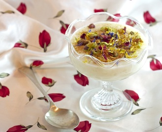 Rice pudding with orange blossom, rose water, and scented geranium