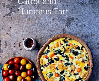 Moroccan Kale, Rainbow Carrot and Hummus Tart with an Olive Oil Crust