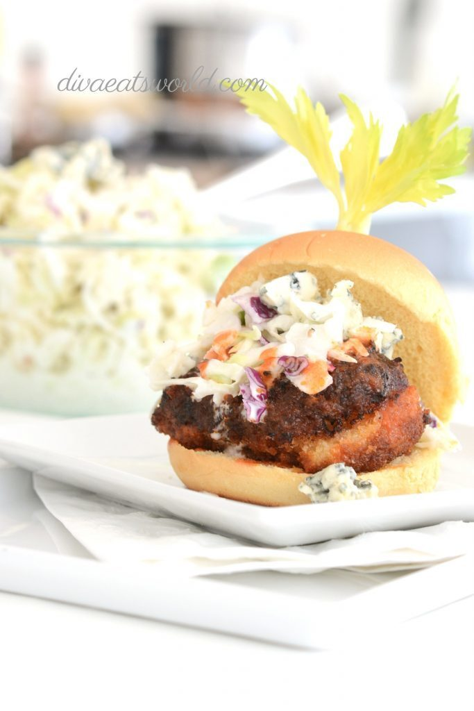 BUFFALO FRIED CHICKEN SLIDERS WITH BUTTERMILK BLUE CHEESE SLAW