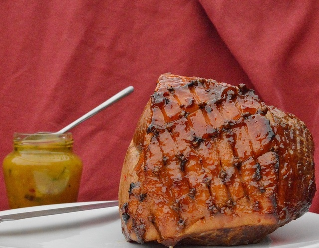 Whole ham with chilli, marmalade and rum glaze