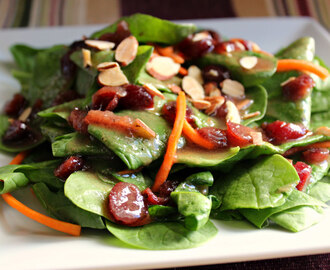 Spinach Salad with Warm Cranberry Dijon Vinaigrette