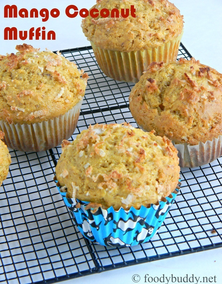 Easy Mango Coconut Muffins Recipe / Eggless Cupcakes