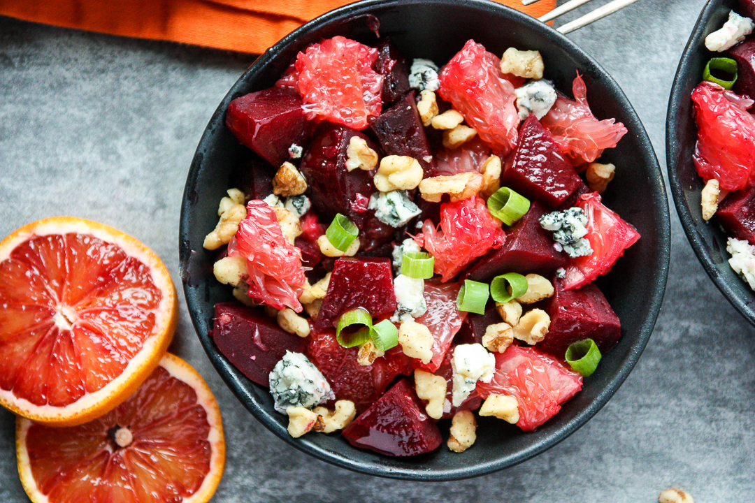 Beet Salad with Grapefruit, Blue Cheese & Walnuts