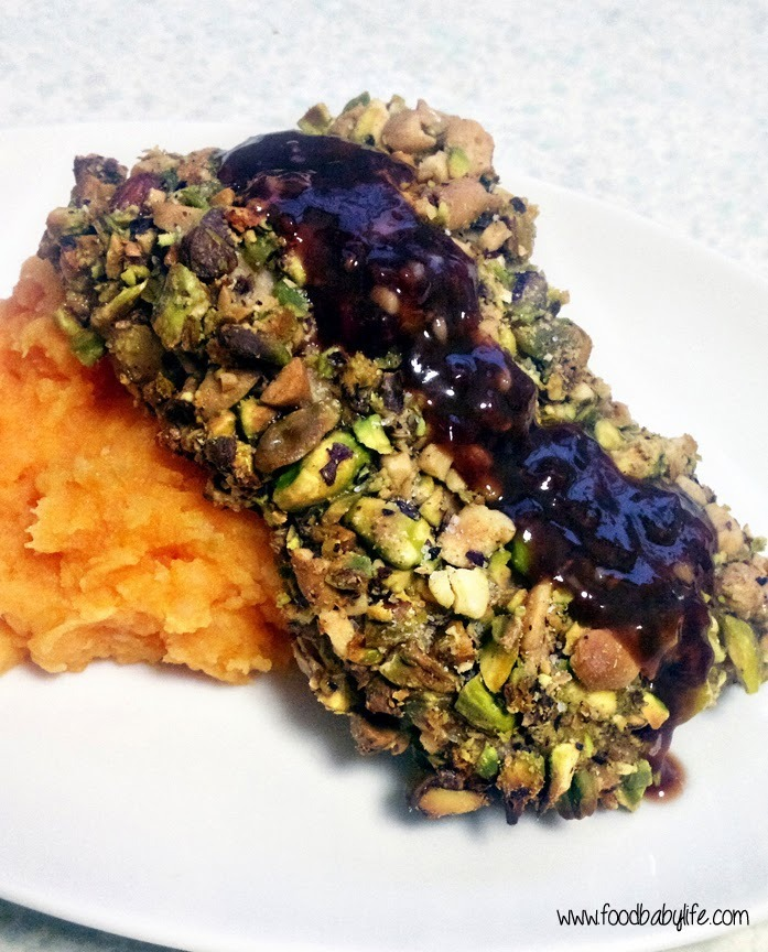 Pistachio Crumbed Chicken with Raspberry Soy Sauce (Secret Recipe Club)