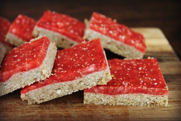 Lemon & Lime Bars with Strawberry Chia Jam Topping!  No Bake!  Gluten/Grain/Egg/Dairy Free!