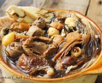 Buddha Jump Over The Wall Soup Recipe (Shark Fin Soup with Abalone, Dried Scallops, Fish Maw, Ham, Fat Cai & Sea Cucumber)