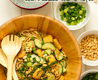 Peanut-sesame noodles with cucumber and tofu