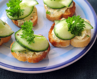 Spicy Cucumber Bruschetta