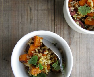 roast pumpkin + brown rice salad w/ spiced coriander dressing recipe
