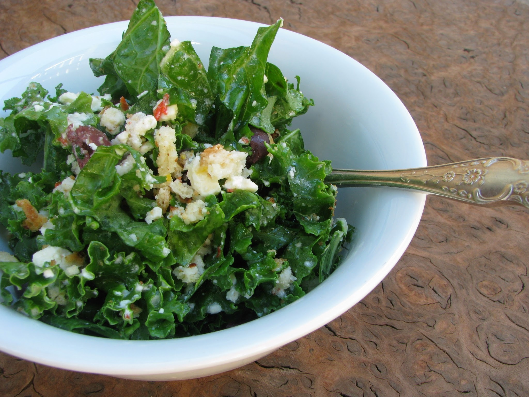 raw kale salad with garlic feta dressing recipe
