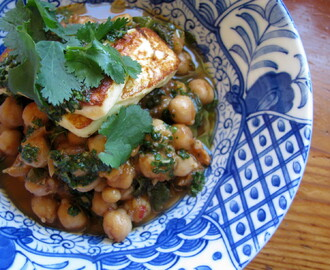 braised chickpeas with spinach, mint, haloumi & mojo verde recipe