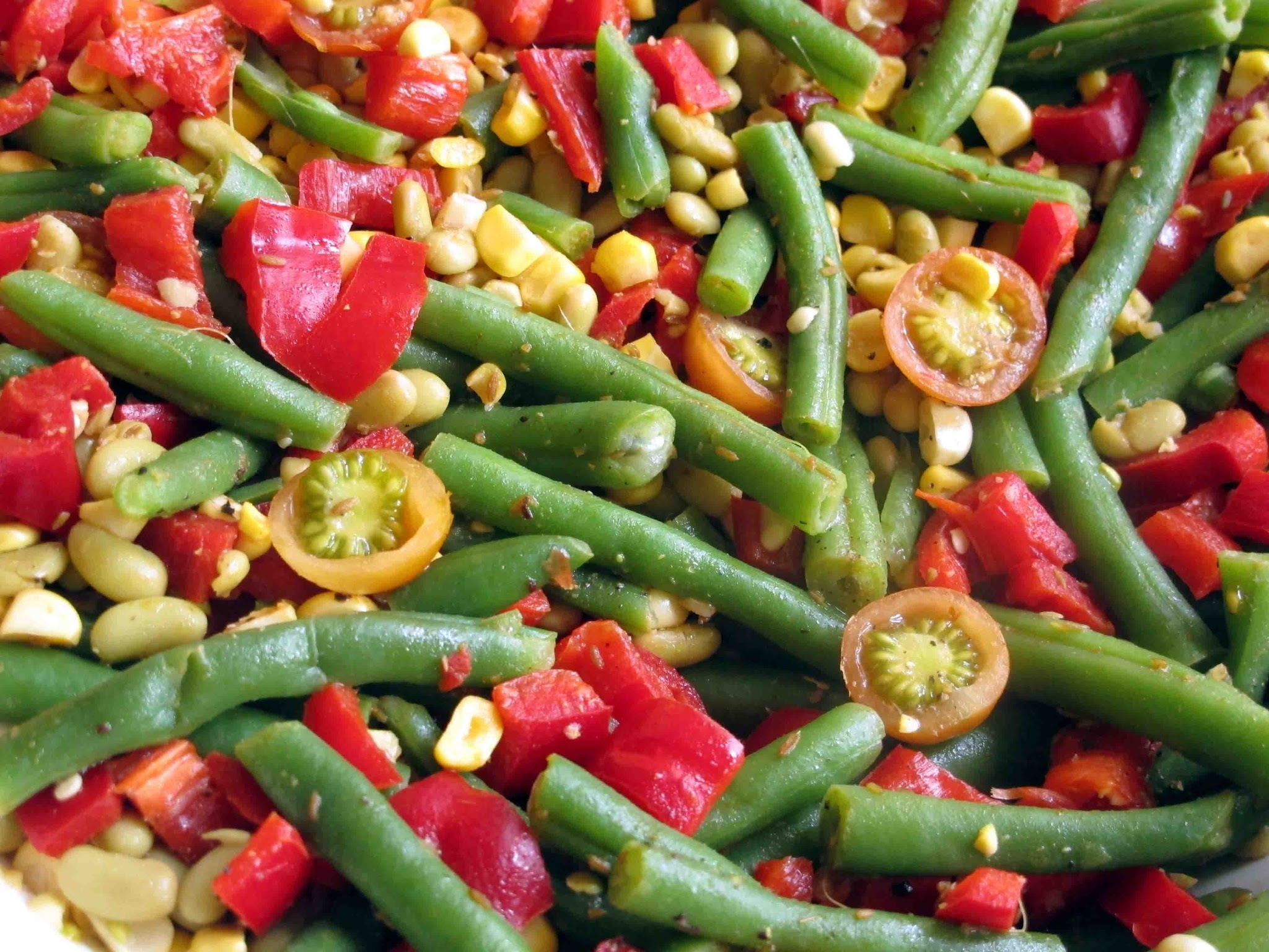 Corn, Bean and Pepper Salad in a Lime Oil Dressing