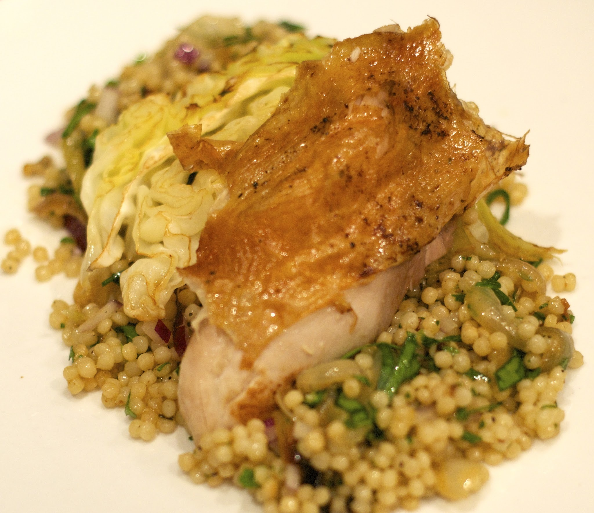 Roast chicken, Israeli couscous, roast cabbage