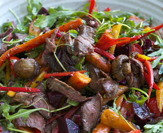 roast vegetable salad with beef fillet