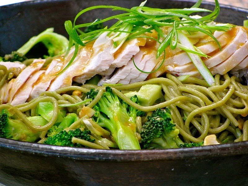chicken soba noodle salad with ginger peanut dressing