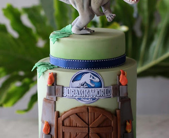 Dinosaur Birthday Cake - with Tropical Leaves