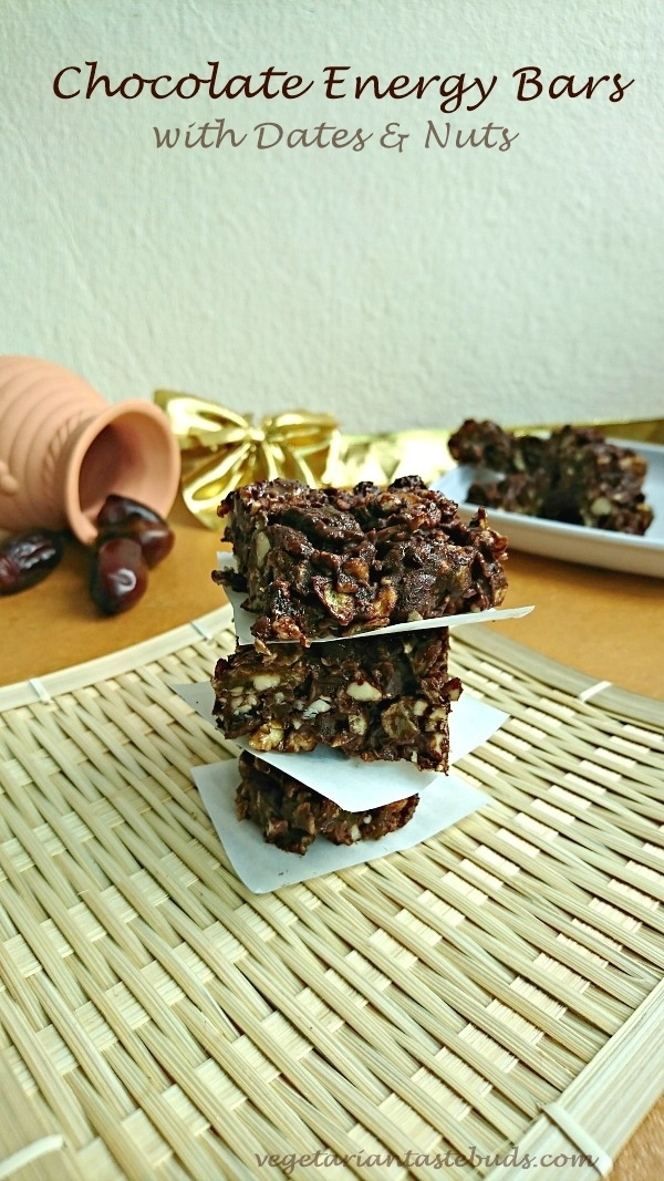 Chocolate Energy Bars with Dates and Nuts