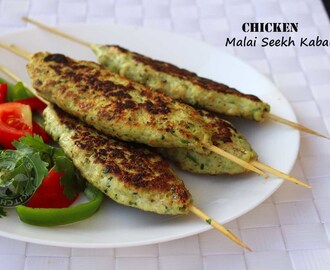 CHICKEN SHISH KEBAB RECIPE - MURGH MALAI SEEKH KABAB / STOVE TOP RECIPES