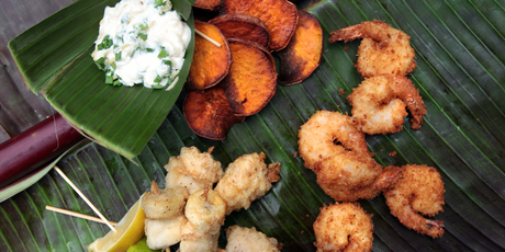 Coconut prawns, fish and banana kebabs and sweet potato crisps