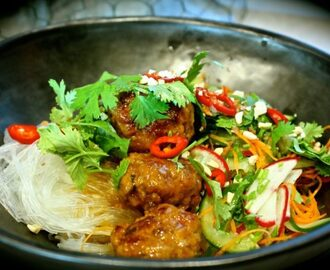 Sticky Pork Meatballs with Glass Noodle Salad