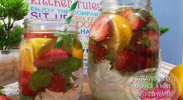 Strawberry, Orange & Mint Infused Water