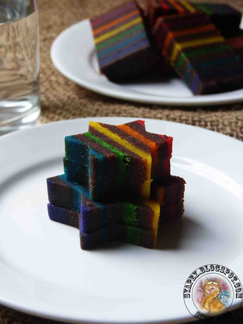 Kek Lapis Coklat Pelangi / Rainbow Chocolate Layer Cake