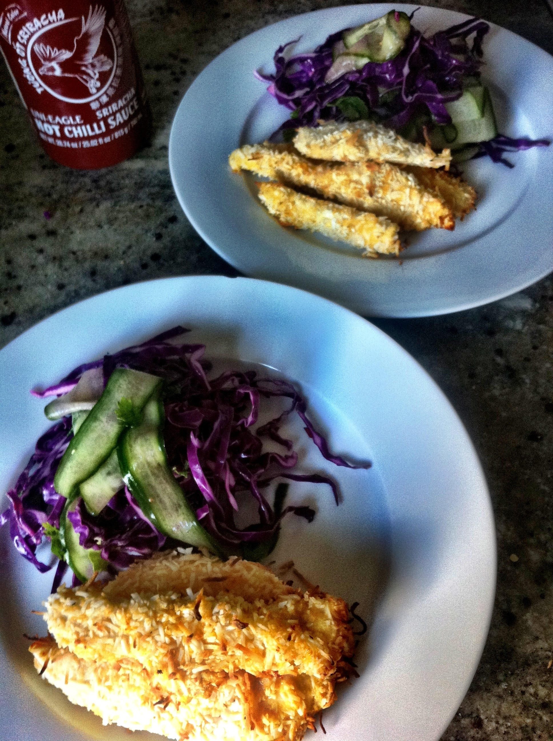 Coconut crusted chicken breasts