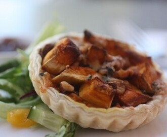 Roasted Pumpkin, Caramelised Onion, Blue Cheese & Walnut Tart