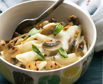 Penne in white sauce with mushrooms