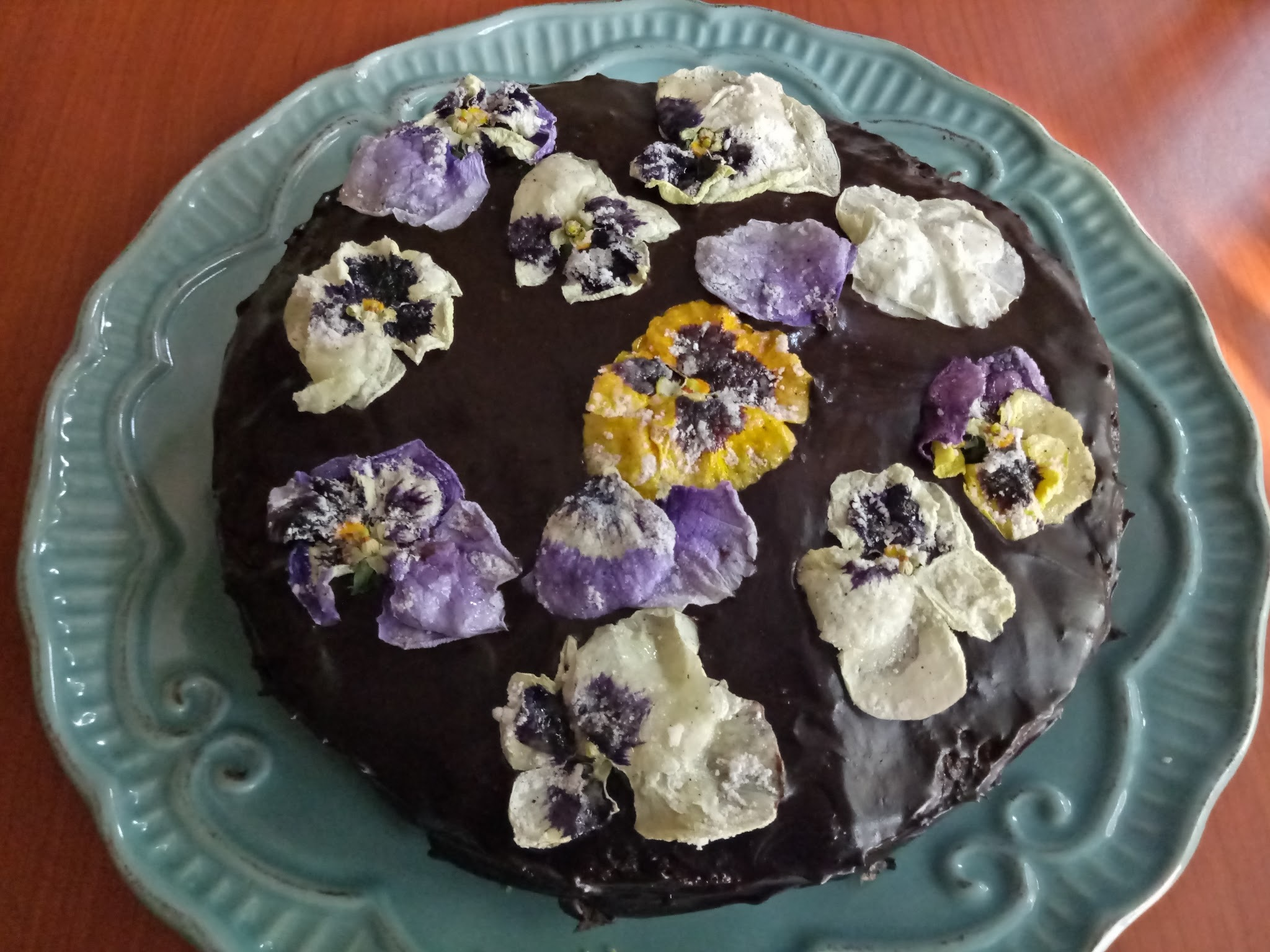Matcha Cake With Chocolate Frosting & Candied Pansies