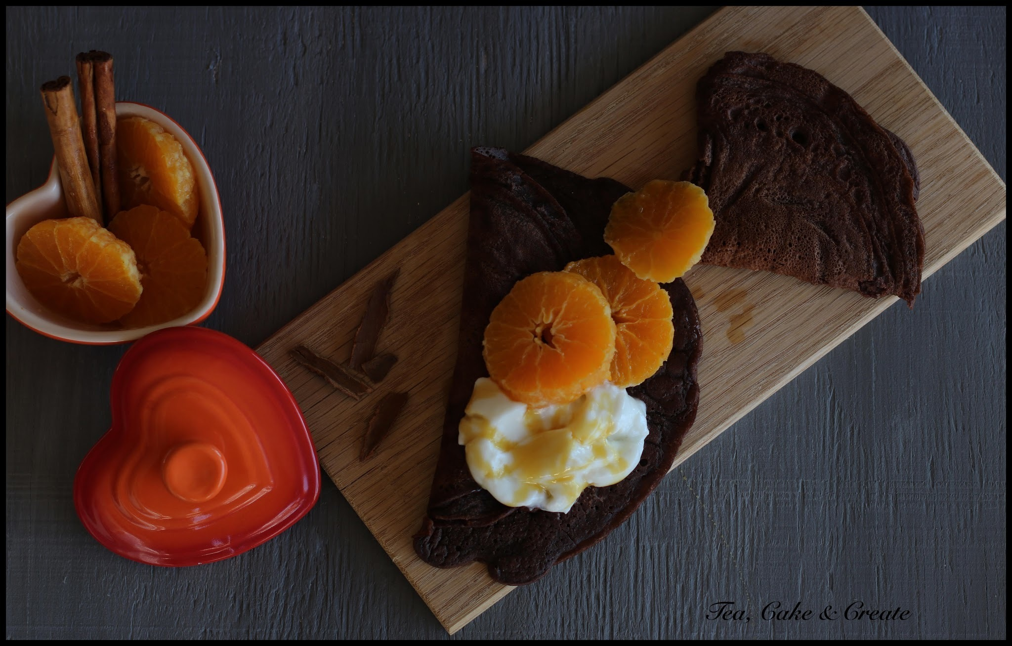 Chocolate Pancakes with Rum Poached Mandarins