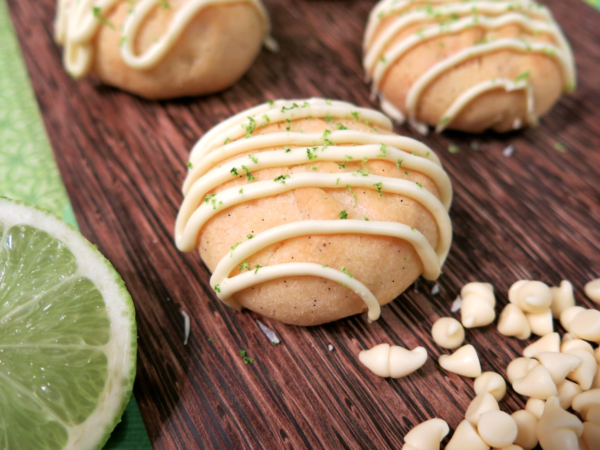 Lime & White Chocolate Biscuits