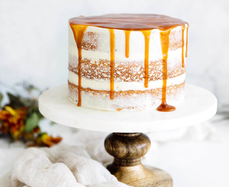 Cardamom Spiced Carrot Cake with Ginger Frosting + Caramel Drizzle