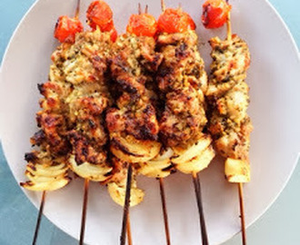 Weeknight Dinner: Chicken Basil Pesto BBQ Skewers