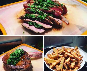 Sous vide steak with chimmichurri sauce and healthy crispy fries