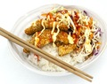crunchy chicken and sticky rice with 3 sauces of awesome