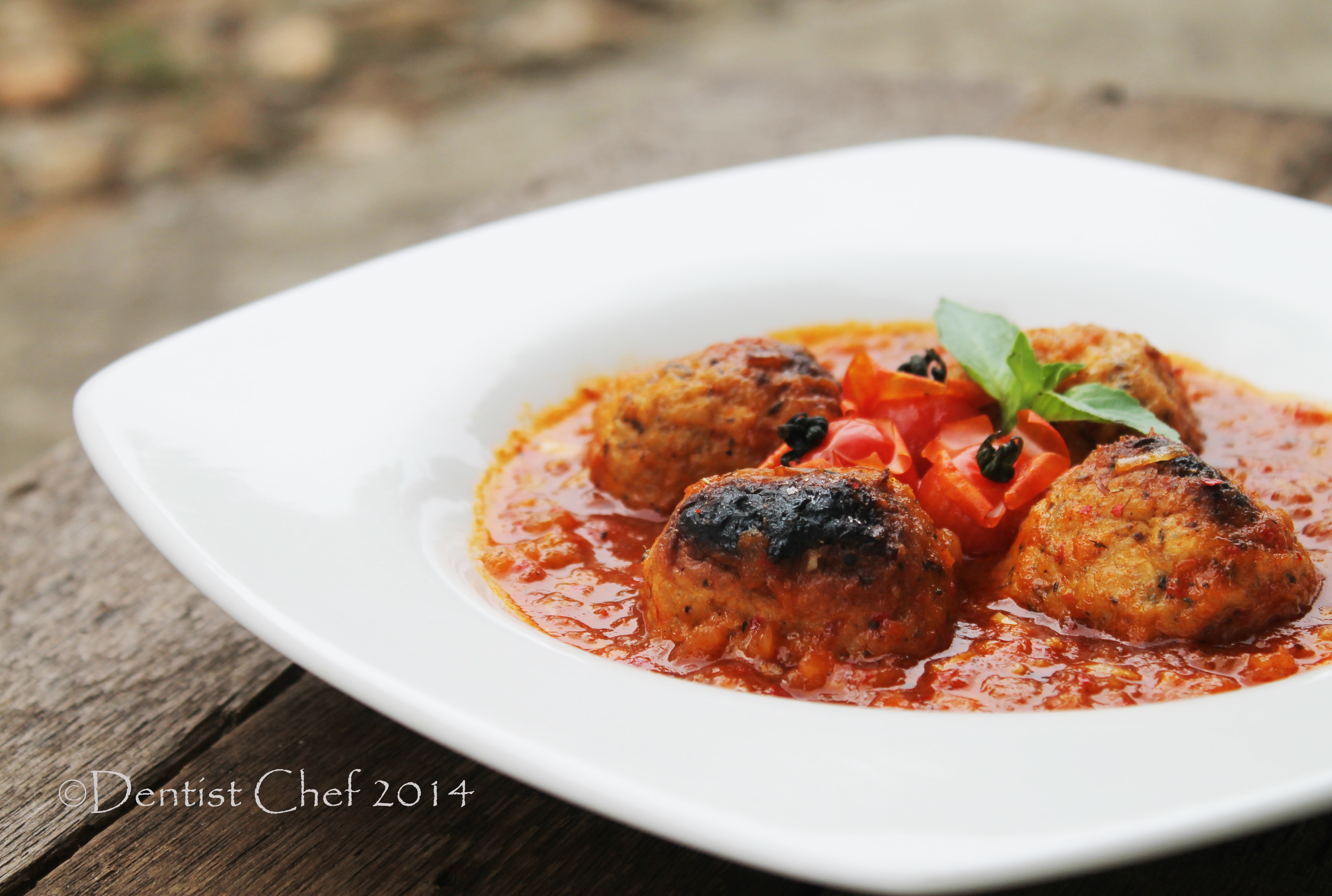 Baked Salmon Meatball with Cheese Stuffing Italian Spicy Tomato Basil Sauce, Ultimate Uncle Dentist Chef Recipe
