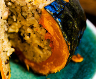 Whole stuffed pumpkin with mushroom risotto