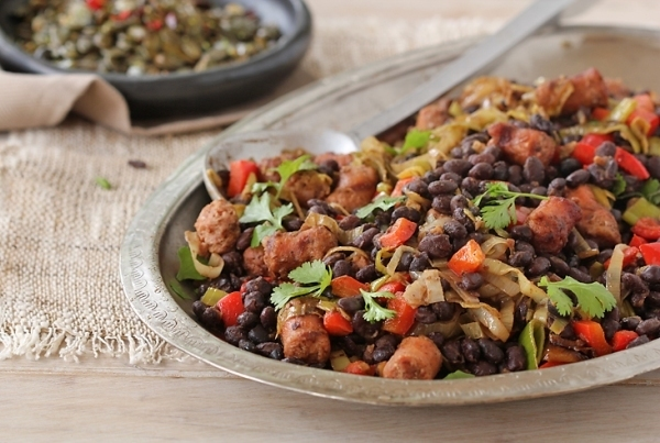 Mexican Black Beans with Chorizo and Leeks
