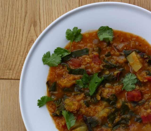 White Sweet Potato, Lentil & Rainbow Chard Soup (vegan & gluten-free)