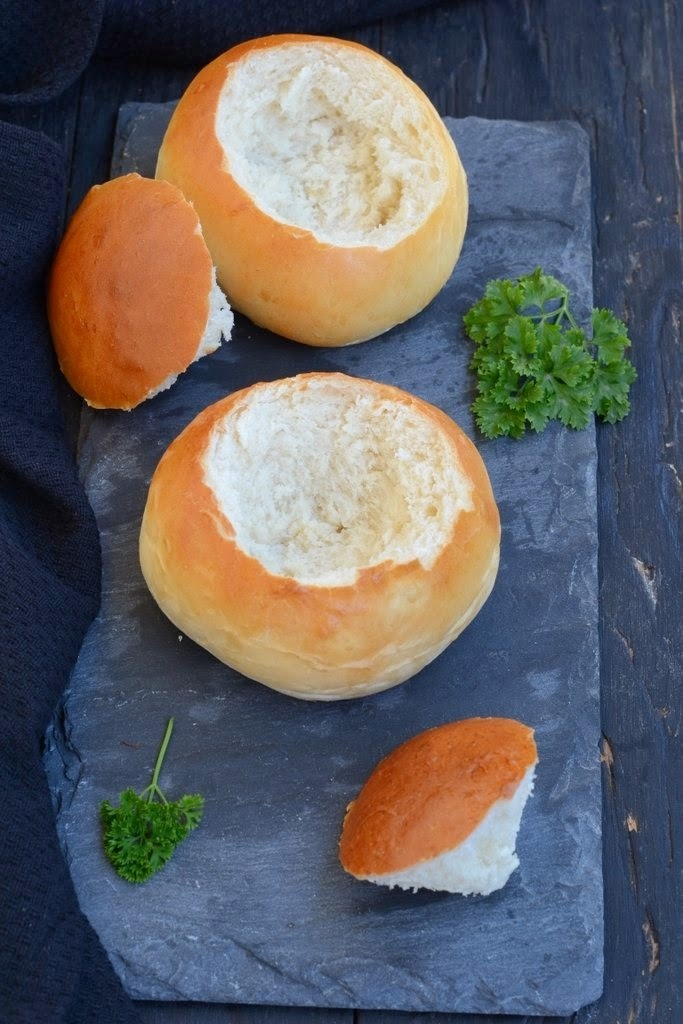 Creamy Tomato Soup served in Edible Bread Bowls