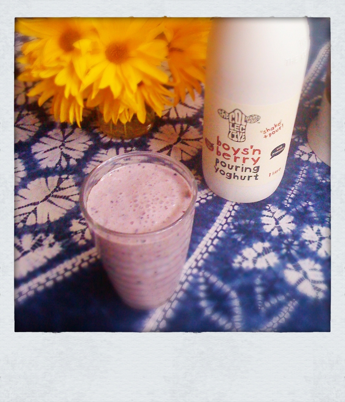 Breakfast smoothie with berry yogurt, banana and Weet-Bix