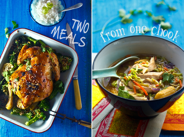 Double dinners: Asian style roast chicken becomes noodle soup the next night