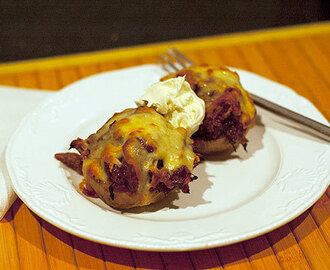 Pork BBQ Stuffed Baked Potatoes